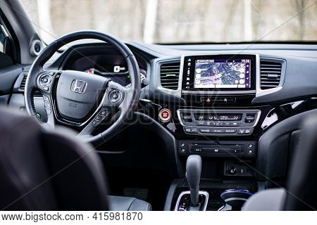 Moscow, Russia - February 2, 2020: Honda Pilot Driver Seat, Steering Wheel And Control Panel. Interi
