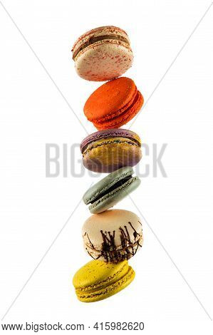 Set Of Flying Colorful Macaroons Isolated On White Background Macaron Or Macaroon Cakes Hang In The