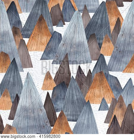 Mountain landscape. Adventure in the mountains. Seamless pattern. Fjords. Rocks sticking out of the sea.