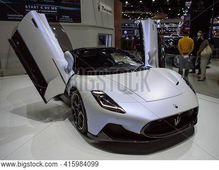 Bangkok, Thailand - April 4, 2021: Supercar Maserati Mc20 Exhibited In Bangkok International Motor S