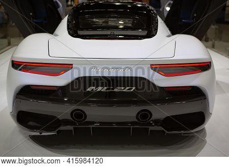 Bangkok, Thailand - April 4, 2021: Rear View Of Supercar Maserati Mc20 Exhibited In Bangkok Internat