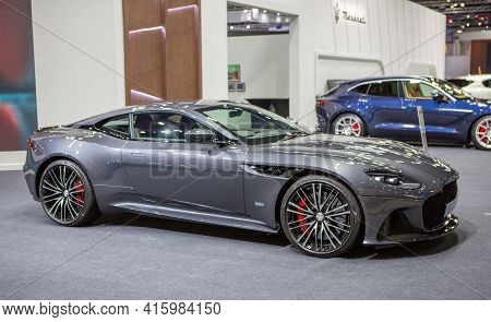 Bangkok, Thailand - April 4, 2021: Supercar Aston Martin Db11 Exhibited In Bangkok International Mot