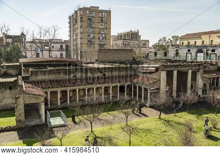 Torre Annunziata, Italy - March 1, 2015: Oplontis Torre Annunziata Italy, Ancient Ruins Of Roman Pop