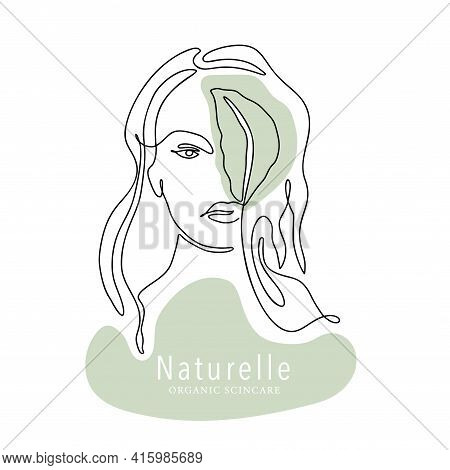 Woman Face One Line Contour Modern Logo. Female Girl Abstract Beauty Portrait Fashion Elegant Vector