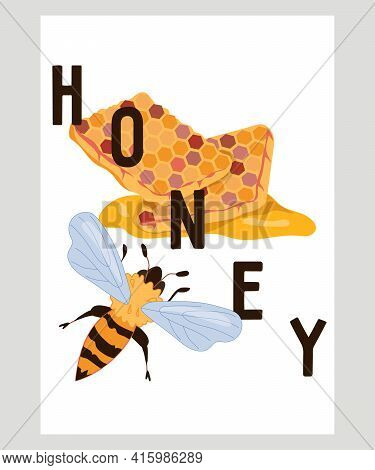 Honey Banner Or Card Template With Bee And Inscription, Flat Vector Illustration. Honeycomb With Bee