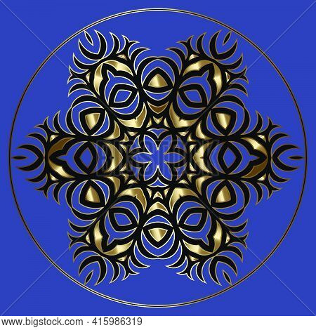 Luxury Round Asian Pattern Of The Nomads Of Central Asia And Kazakhstan, Kyrgyzstan. Nomadic Ethnic