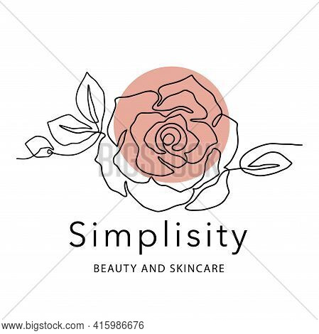 Outline Rose One Line Flower Logo And Poster Art. Abstract Vector Plant Trendy Icon. Modern Nature B