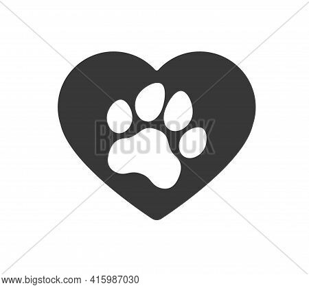 Heart, Love Dog, Puppy, Cat Paw Silhouette. Icons Set. Tags. I Love My Dog. Dog Mom.