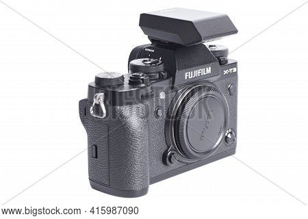 Moscow, Russia April 03,2021 Fujifilm X-t3 Digital Camera With Flash Isolated On White Background