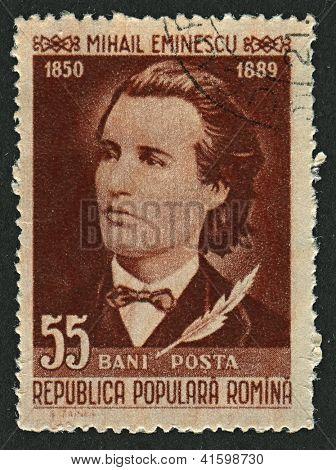 ROMANIA - CIRCA 1958: Postage stamps dedicated to Mihai Eminescu (1885 - 1889), Romanian poet, novelist and journalist, circa 1958.