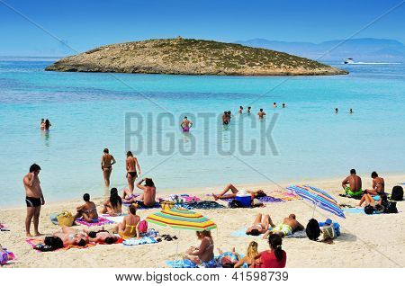 FORMENTERA, SPAIN - SEPTEMBER 18: Ses Illetes Beach on September 18, 2012 in Formentera, Balearic Islands, Spain. Formentera is renowned across Europe for many white beaches like Ses Illetes