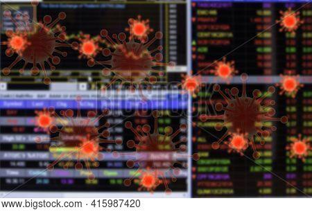 Image Blurred The Crisis Financial Graph Concept Coronavirus Covid19 Spread  Represent Financial Fin