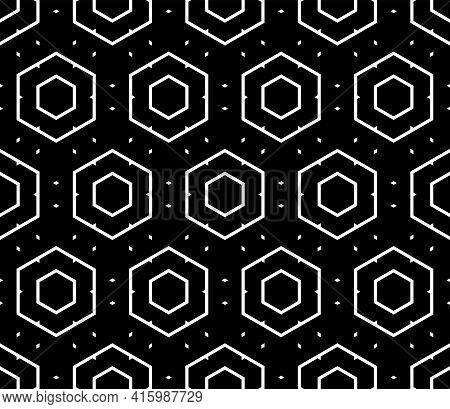 Abstract Seamless Geometric Hexagons Black Pattern And Texture. Vector Art.