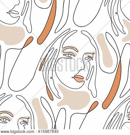 One Line Seamless Modern Nature Color Pattern. Minimal Young Woman Face Simplicity Artwork.
