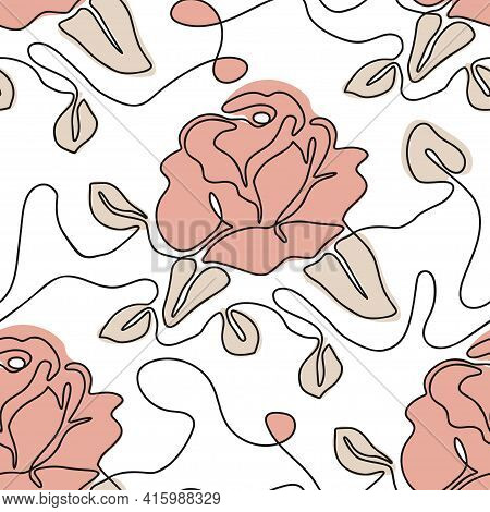 One Line Seamless Modern Pattern. Rose Flower Modern Simplicity Vector Illustration