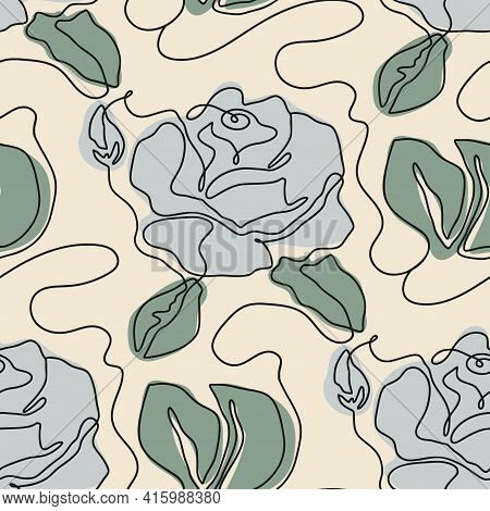 One Line Seamless Modern Pattern. Rose Flower Modern Simplicity Contemporary Vector Illustration.