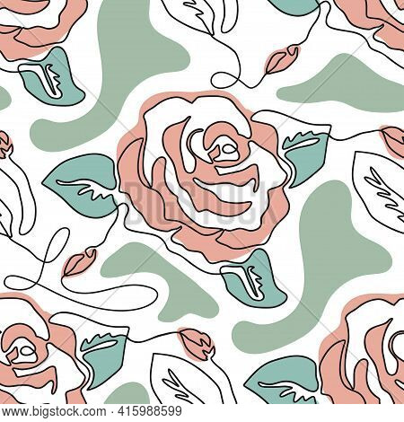 One Line Seamless Modern Pattern. Rose Flower Modern Simplicity Vector Illustration. Hand Drawn Sing