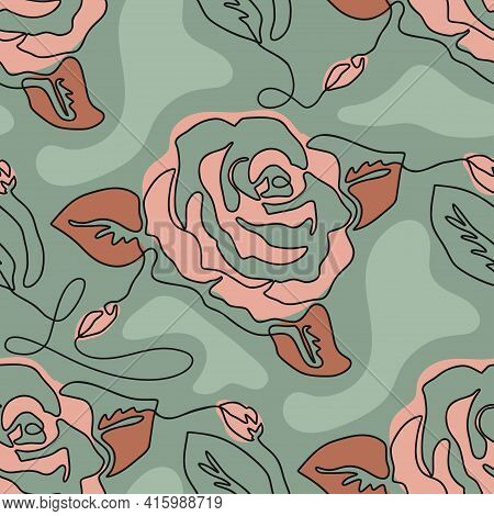 One Line Seamless Modern Pattern. Rose Flower Modern Simplicity Continuity Single Line Vector Illust