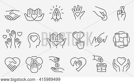 Charity Line Icon Set. Collection Of Donate, Volunteer, Humanitarian, Hope And More. Vector Illustra