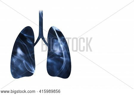 Lungs Full Of Smoke. Horizontal Image With White Background And Copy Space. Concepts Of World No Tob
