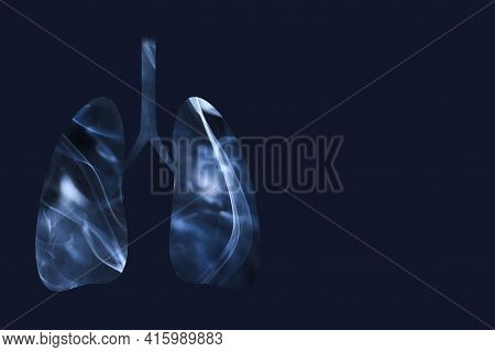 Lungs Full Of Smoke. Horizontal Image With Dark Blue Background And Copy Space. Concepts Of World No