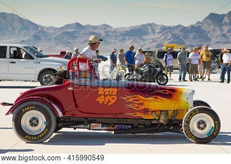 Bonneville Salt Flats, Utah, September 8: Detail View Of An Unidentified Racing Car On The Starting