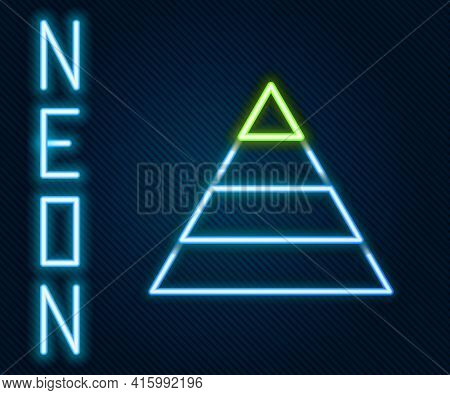 Glowing Neon Line Business Pyramid Chart Infographics Icon Isolated On Black Background. Pyramidal S