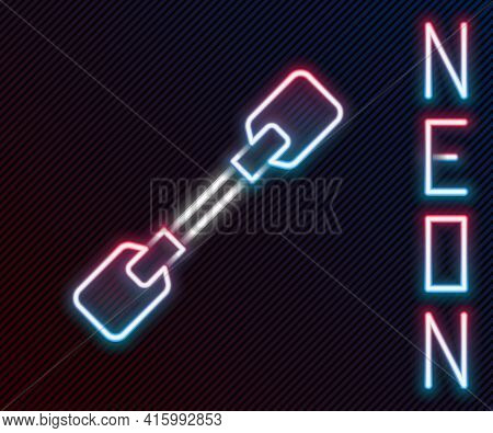 Glowing Neon Line Paddle Icon Isolated On Black Background. Paddle Boat Oars. Colorful Outline Conce