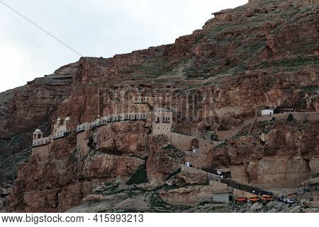 The Mount Of Temptations Near The City Of Jericho In Palestine. High Quality Photo