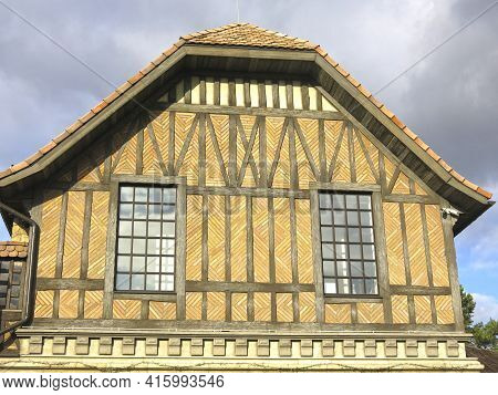 Brown Half-timbered Building, Medieval European Architectural Style