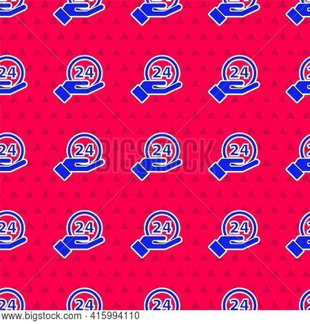 Blue Clock 24 Hours Icon Isolated Seamless Pattern On Red Background. All Day Cyclic Icon. 24 Hours