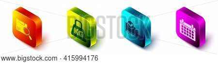 Set Isometric Search Package, Weight, Delivery Truck With Check Mark And Calendar Icon. Vector