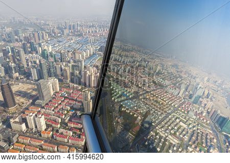 Shanghai, China - 10th April 2013: Aerial View Of Shanghai Taken From Th Financial Tower. China