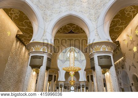 Abu Dhabi, United Arab Emirates, January 10: Interior Of The Abu Dhabi Sheikh Zayed White Grand Mosq