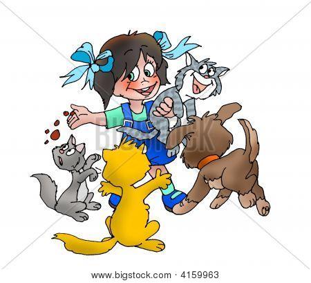 Girl Feeding Pets