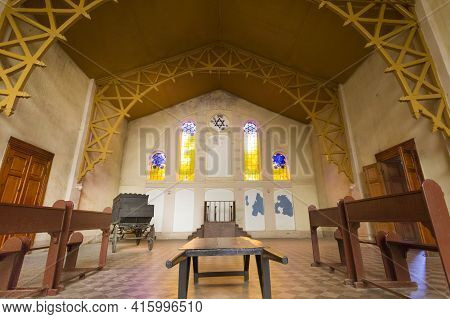 Lodz, Poland, September 17: Interior Of The Synagogue In Old Jewish Cemetery In Lodz With Rainy And