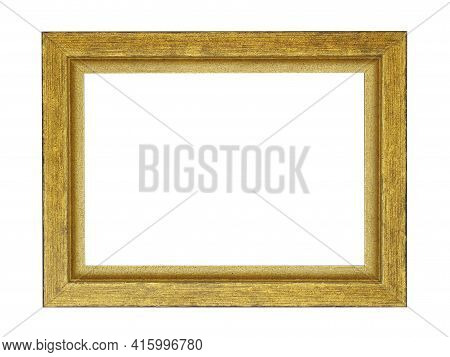 Empty Gilded Wooden Frame For Paintings. Isolated On White Background