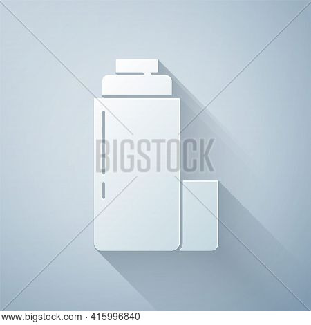 Paper Cut Thermos Container Icon Isolated On Grey Background. Thermo Flask Icon. Camping And Hiking