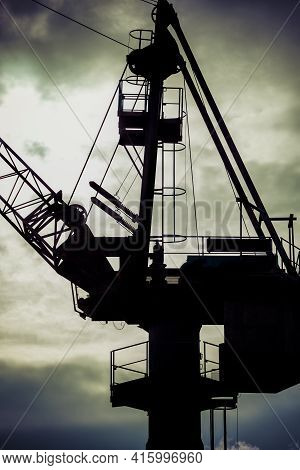 Industrial View Massive Crane In The Shipyards In Gdansk, Poland.