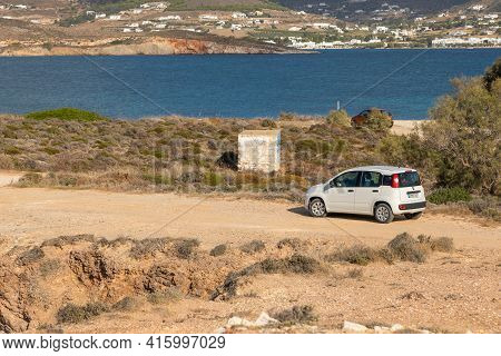 Paros Island, Greece - 27 September 2020: White Car, Fiat Panda Parked On The Road.