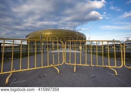 Gdansk, Poland - September 19: Pge Yellow Gate To The Arena Which Is A Newly Built Football Stadium