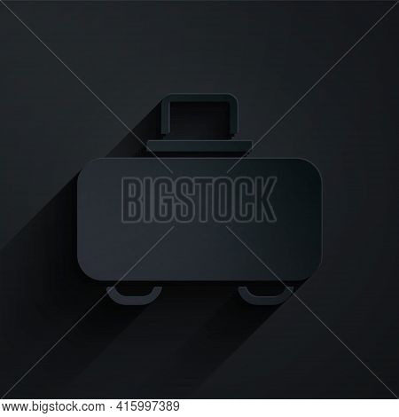 Paper Cut Weapon Case For Storing And Transporting Weapons Icon Isolated On Black Background. Paper