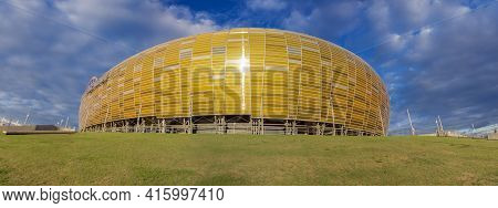 Gdansk, Poland - 19/09/2013: Yellow Gate To The Arena Which Is A Newly Built Football Stadium For Eu