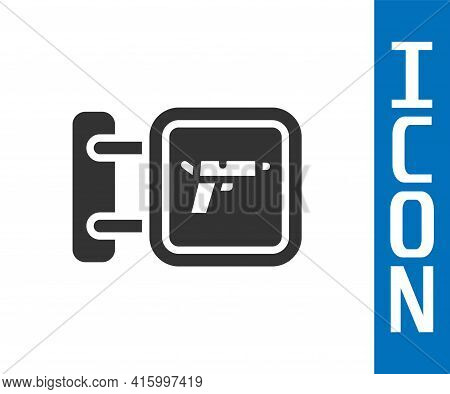 Grey Hunting Shop With Rifle And Gun Weapon Icon Isolated On White Background. Supermarket Or Store