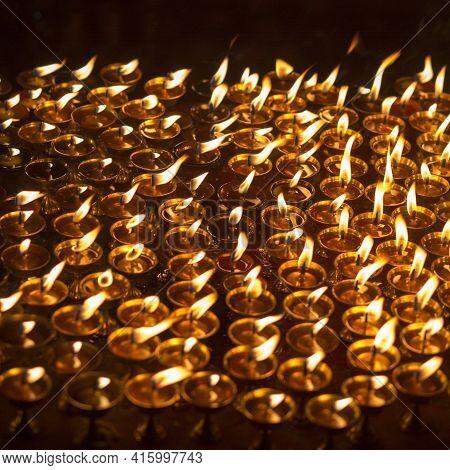 Church Candles In Kathmandu.various Photographs Of Kathmandu In Nepal