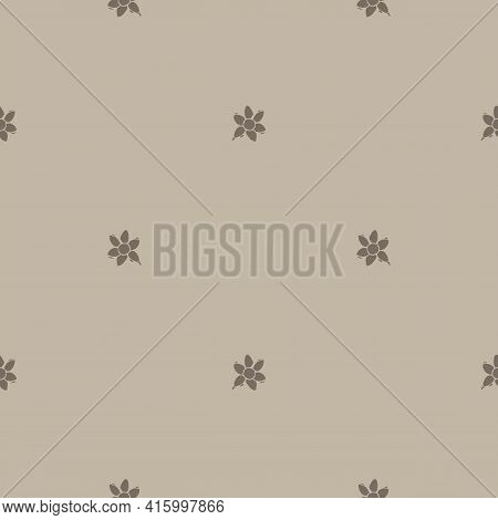 Handmade Carved Block Print Flower Seamless Pattern. Rustic Naive Silhouette Illustration Background