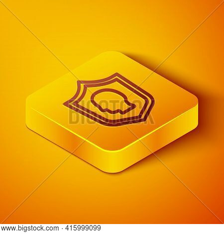 Isometric Line User Protection Icon Isolated On Orange Background. Secure User Login, Password Prote