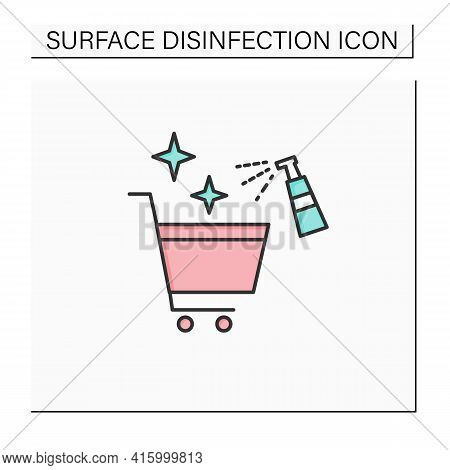 Cleaning Shopping Cart Color Icon. Handels Disinfecting. Public Spaces Disinfecting. Safety Space An