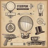 vector set: Steampunk design elements poster