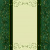Vintage golden - green background for menu cover invitation or greeting card. Vector illustration poster
